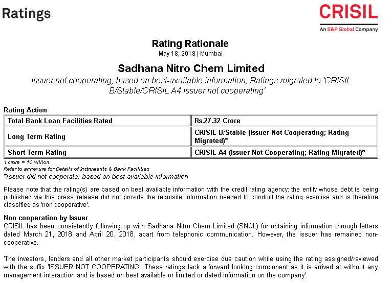 Credit Rating - Sadhana Nitro Chem