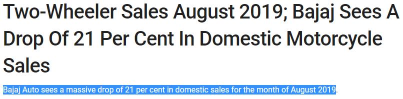 Bajaj sees 20% reduction in auto sales Aug-19