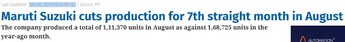 Maruti cuts production Aug-19